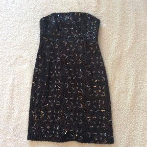 Banana Republic Strapless Sequined Black Dress